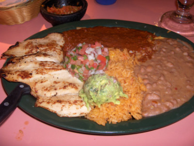 Enchilada on the tampiquena plate at Los Arcos, Edmond, OK