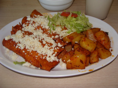 Red enchiladas at Birrieria Diaz in Bethany