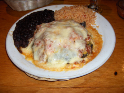 Enchiladas with blue corn tortillas at Mamasita's