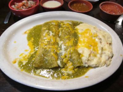 Tomatillo enchiladas at Poblano Grill