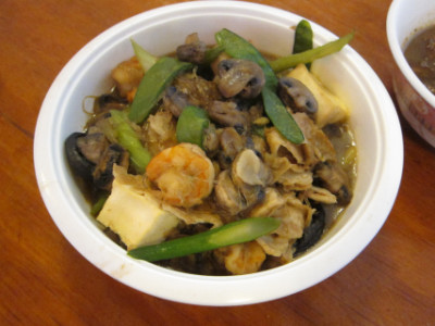 Tofu and shrimp as a Chinese New Year dish