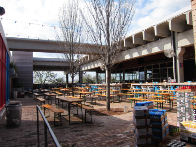 Fassler Hall's outdoor patio