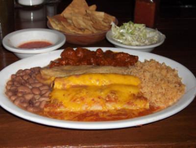 Green enchilada, rolled taco, chile relleno, chile con carne