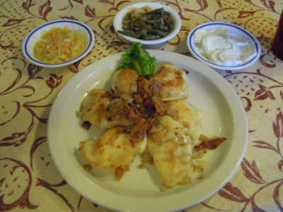 Pierogi and side dishes
