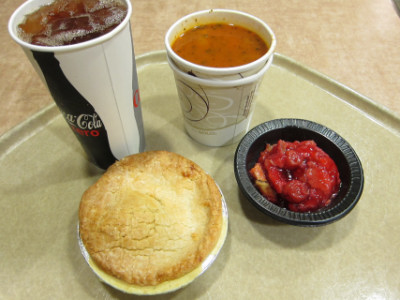 Iced tea, chicken pot pie, minestrone, and cobbler