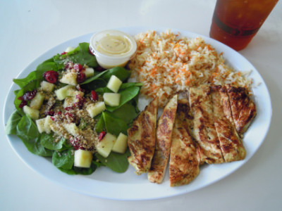 Chicken, apple spinach salad, carrot rice