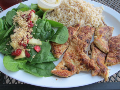 Chicken, salad, and rice