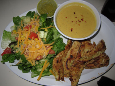 Chicken, tropical salad, cauliflower soup