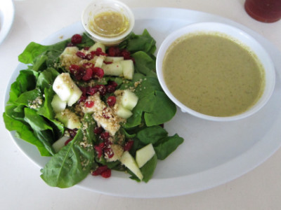 Half soup and half salad combination--apple spinach salad and mushroom soup