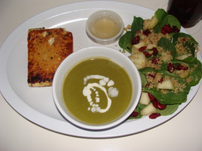 Tofu with soup and salad