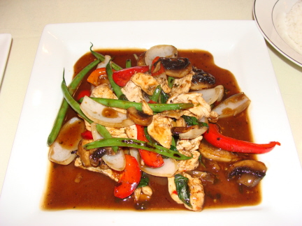 Basil stir fried with chicken