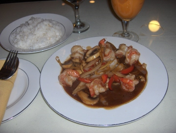 Ginger brown sauce with shrimp