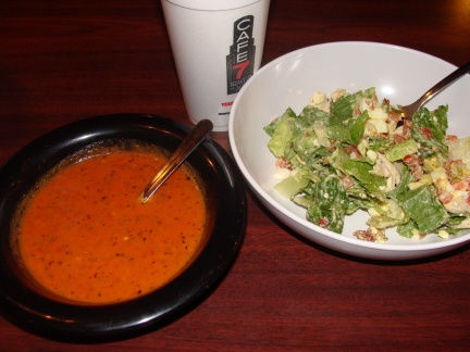 Tomato basil soup and cobb salad