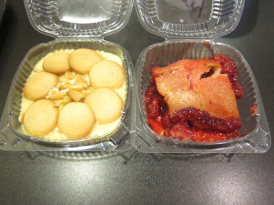 Banana pudding and cherry cobbler