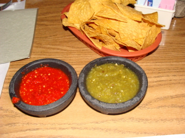 Chips with two kinds of salsa