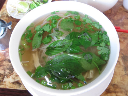 Chicken pho with basil