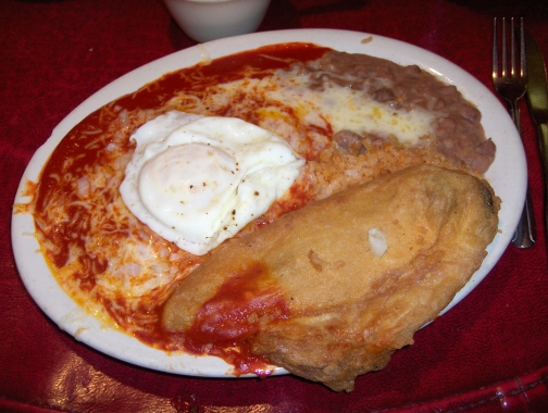 Red enchiladas and chile relleno