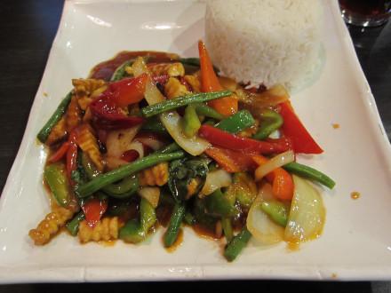 Basil Stir-Fried on the dinner menu