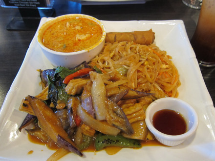 Friday lunch combo with evil jungle curry and eggplant tofu stir fired