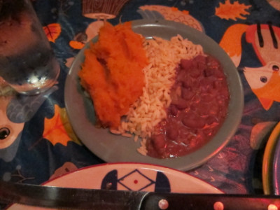 Sweet potatoes, red beans and rice