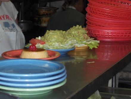 Flan and guacamole