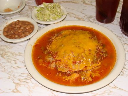 Green enchiladas are New Mexico style