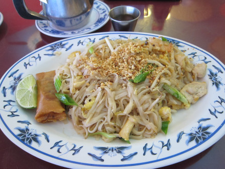 Lunch portion of pad thai