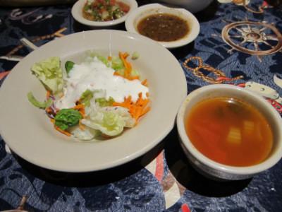 Fish soup and salad