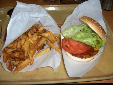 Veggie burger with Johnnie's Sauce and fries