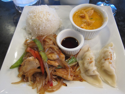 Ginger chicken and red curry on lunch special
