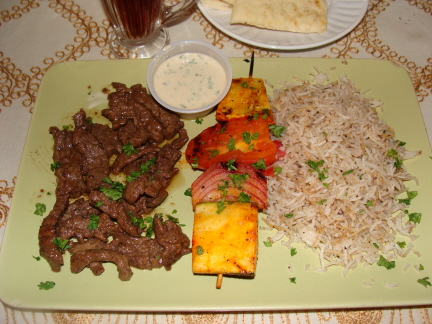 Beef shawerma and chicken tawook