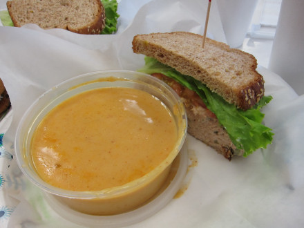 Tuna sandwich and lobster bisque