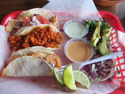 Taco combo with fish, adobo, and campestre