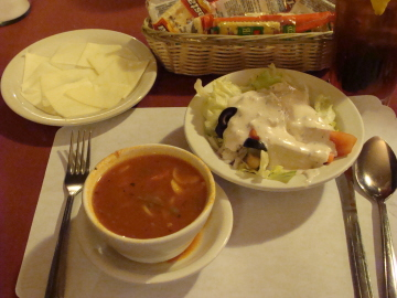 Soup and salad with complimentary cheese and crackers