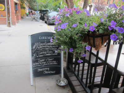 Specials board next to the outdoor patio