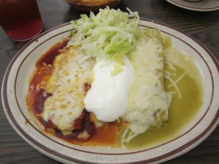 "Tri-color or ""Mexican flag"" enchiladas"