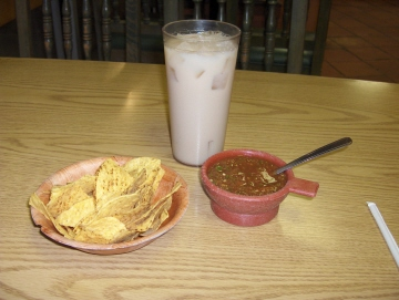 Horchata with chips and salsa
