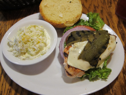 Green chile chicken sandwich