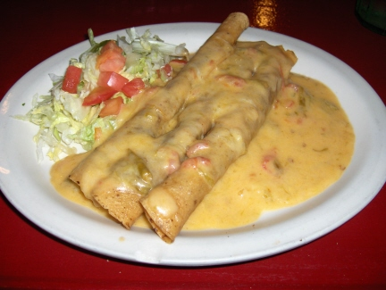 Flautas with chile con queso