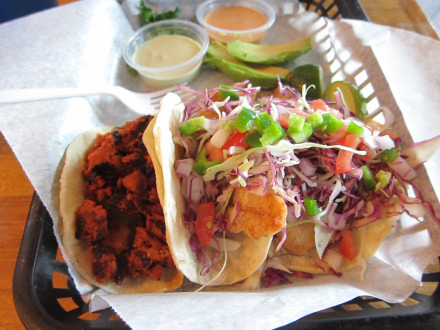 Adobada and fish tacos