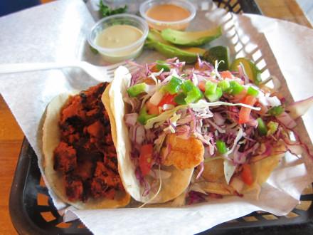 Adobada and fish tacos