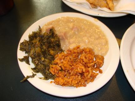 Collard greens, jambalaya, and white beans