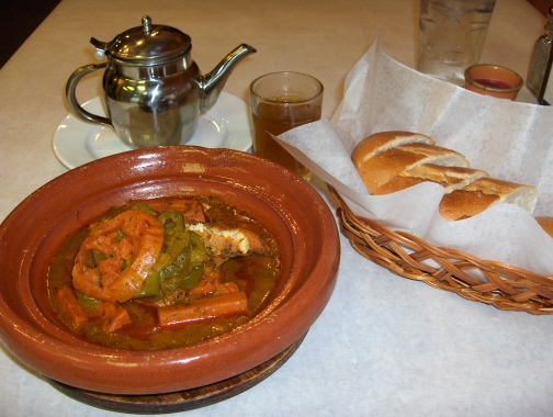 Sometimes they offer special tagines such as this cobia dish
