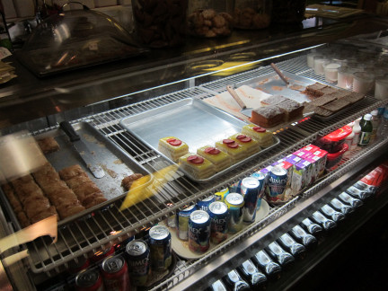 Food counter with desserts and other treats