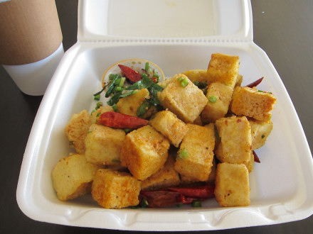 All orders of salt n pepper tofu are served in a takeout container, even if you eat in the restaurant