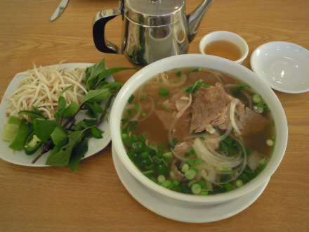 Pho with rare beef and well done brisket