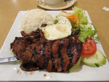 BBQ pork chop & sunny side up egg (No. 44)