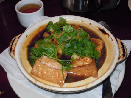 Hot pot with stuffed tofu was a special item that is not on the menu