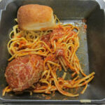 Spaghetti and meatballs as a takeout order from the now closed Northpark restaurant