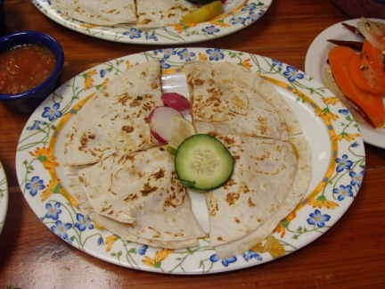 Quesadilla is the most expensive item on the Mexican menu